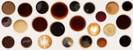 Raccolta delle cime delle tazze di caffè isolate su bianco Fotografie Stock