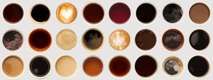 Raccolta delle cime delle tazze di caffè isolate su bianco Immagini Stock Libere da Diritti