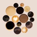 Raccolta delle cime delle tazze di caffè isolate su bianco Fotografia Stock Libera da Diritti