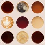 Raccolta delle cime delle tazze di caffè su bianco Fotografie Stock Libere da Diritti