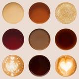 Raccolta delle cime delle tazze di caffè su bianco Fotografia Stock Libera da Diritti