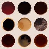 Raccolta delle cime delle tazze di caffè su bianco Immagine Stock Libera da Diritti