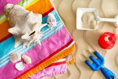 Raccolta delle conchiglie sulle vacanze estive Fotografia Stock Libera da Diritti