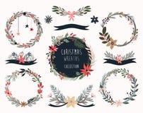 Raccolta delle corone di Natale, disposizioni floreali disegnate a mano Fotografia Stock Libera da Diritti