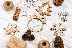 Raccolta delle decorazioni della stella di Natale per derisione su progettazione del modello Vista da sopra Disposizione piana Immagine Stock Libera da Diritti