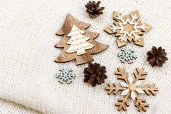 Raccolta delle decorazioni della stella di Natale per derisione su progettazione del modello Vista da sopra Disposizione piana Fotografia Stock
