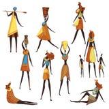 Raccolta delle donne africane del fumetto su fondo bianco illustrazione di stock