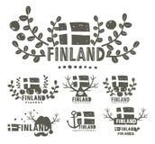 Raccolta delle etichette in bianco e nero della Finlandia Fotografia Stock