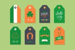 Raccolta delle etichette del regalo del giorno di St Patrick Insieme delle etichette di festa del giorno di St Patrick Progettazi Immagine Stock Libera da Diritti