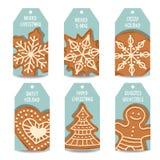 Raccolta delle etichette di Natale con il pan di zenzero royalty illustrazione gratis