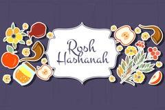 Raccolta delle etichette e degli elementi per Rosh Hashanah (nuovo ebreo Fotografia Stock