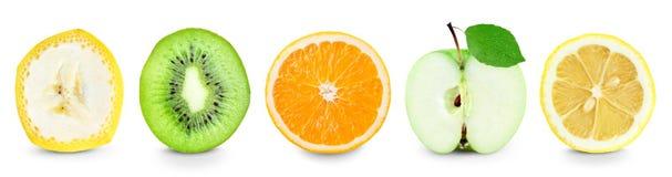 Raccolta delle fette della frutta su bianco fotografie stock libere da diritti