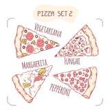Raccolta delle fette disegnate a mano differenti della pizza illustrazione vettoriale