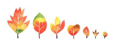 Raccolta delle foglie di autunno dell'acquerello su fondo bianco illustrazione vettoriale