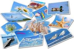Raccolta delle foto di vacanze estive su bianco Fotografia Stock Libera da Diritti