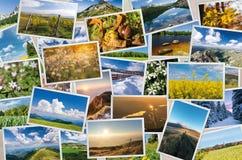 Raccolta delle foto stampate con i temi del paesaggio e della natura Fotografie Stock Libere da Diritti
