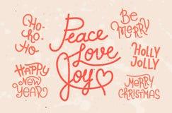Raccolta delle frasi di Natale scritte mano illustrazione vettoriale
