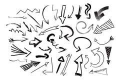 Raccolta delle frecce di vettore per progettazione del sito Web Insieme disegnato a mano di scarabocchio delle frecce segno di si Immagini Stock Libere da Diritti