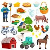 Raccolta delle icone decorative rurali del fumetto royalty illustrazione gratis
