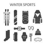 Raccolta delle icone degli sport invernali L'insieme di snowboard e di corsa con gli sci fornisce Immagini Stock