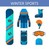 Raccolta delle icone degli sport invernali L'insieme di snowboard e di corsa con gli sci fornisce Fotografie Stock Libere da Diritti