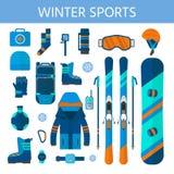 Raccolta delle icone degli sport invernali L'insieme di snowboard e di corsa con gli sci fornisce Fotografia Stock Libera da Diritti