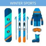Raccolta delle icone degli sport invernali L'insieme di snowboard e di corsa con gli sci fornisce Immagine Stock