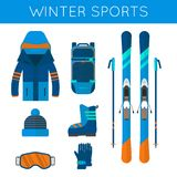 Raccolta delle icone degli sport invernali L'insieme di snowboard e di corsa con gli sci fornisce Fotografia Stock