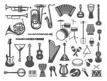 Raccolta delle icone degli strumenti musicali royalty illustrazione gratis