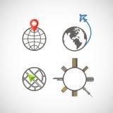 Raccolta delle icone del globo Fotografia Stock