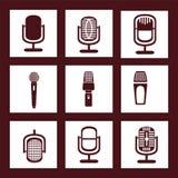 Raccolta delle icone del microfono Fotografie Stock