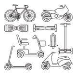 Raccolta delle icone del motorino e della bici Fotografia Stock Libera da Diritti