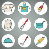 Raccolta delle icone della cucina sui cerchi bianchi Fotografia Stock Libera da Diritti
