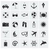 Raccolta delle icone della spiaggia e di vacanza. Fotografia Stock Libera da Diritti