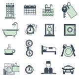 Raccolta delle icone delle amenità e di servizi dell'hotel su bianco Fotografia Stock Libera da Diritti