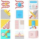 Raccolta delle icone di colore per il riscaldamento a pavimento royalty illustrazione gratis