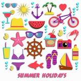 Raccolta delle icone di estate Fotografia Stock