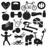 Raccolta delle icone di forma fisica e di salute Immagine Stock Libera da Diritti