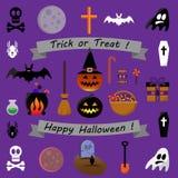 Raccolta delle icone di Halloween - illustrazione di riserva di vettore Fotografie Stock Libere da Diritti