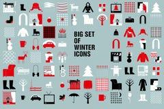 Raccolta delle icone di inverno e di Natale - vettore Fotografie Stock