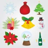 Raccolta delle icone di Natale Immagine Stock Libera da Diritti