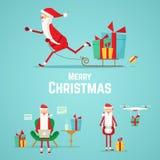 Raccolta delle icone di Santa Claus Illustrazione di Natale Immagine Stock Libera da Diritti