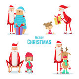 Raccolta delle icone di Santa Claus Illustrazione di Natale Fotografia Stock Libera da Diritti