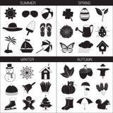 Raccolta delle icone di stagione: Estate Autumn Winter della primavera Immagine Stock Libera da Diritti