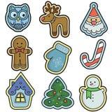 Raccolta delle icone di vacanze invernali Fotografia Stock