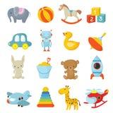 Raccolta delle icone di vettore dei giocattoli dei bambini del fumetto royalty illustrazione gratis