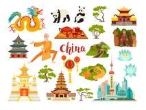 Raccolta delle icone di vettore dei punti di riferimento della Cina Immagini Stock