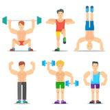 Raccolta delle icone di vettore del fumetto di forma fisica degli uomini illustrazione vettoriale
