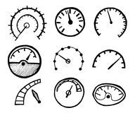 Raccolta delle icone disegnate a mano del tachimetro isolate sul BAC bianco illustrazione vettoriale