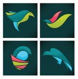 Raccolta delle icone divertenti variopinte degli uccelli Fotografia Stock Libera da Diritti